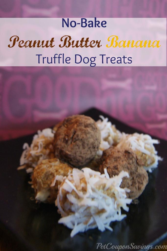 no bake peanut butter banana truffle dog treats