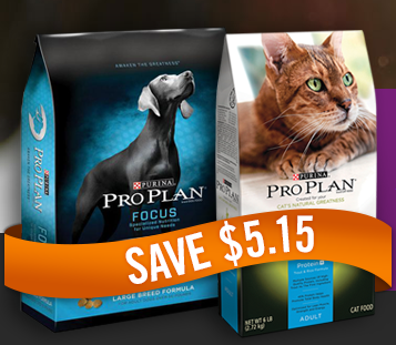 $5.15 off Purina Pro Plan Dog or Cat Food=FREE food!