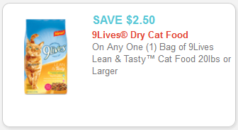 9 Lives Lean & Tasty Cat Food Coupon
