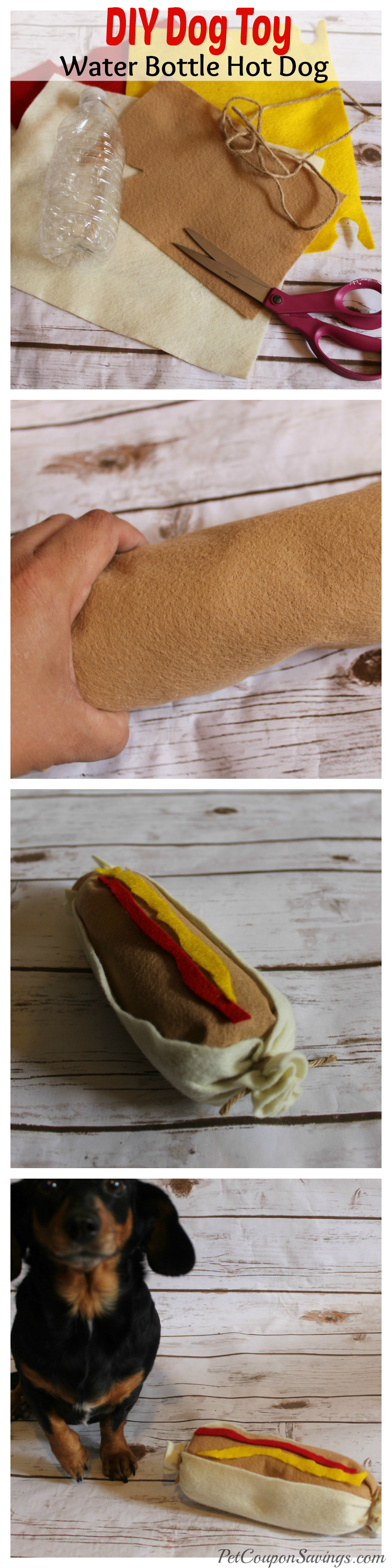 DIY Hot Dog Water Bottle Dog Toy