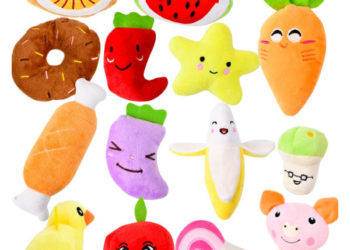 fruit and vegetable squeaky dog toys